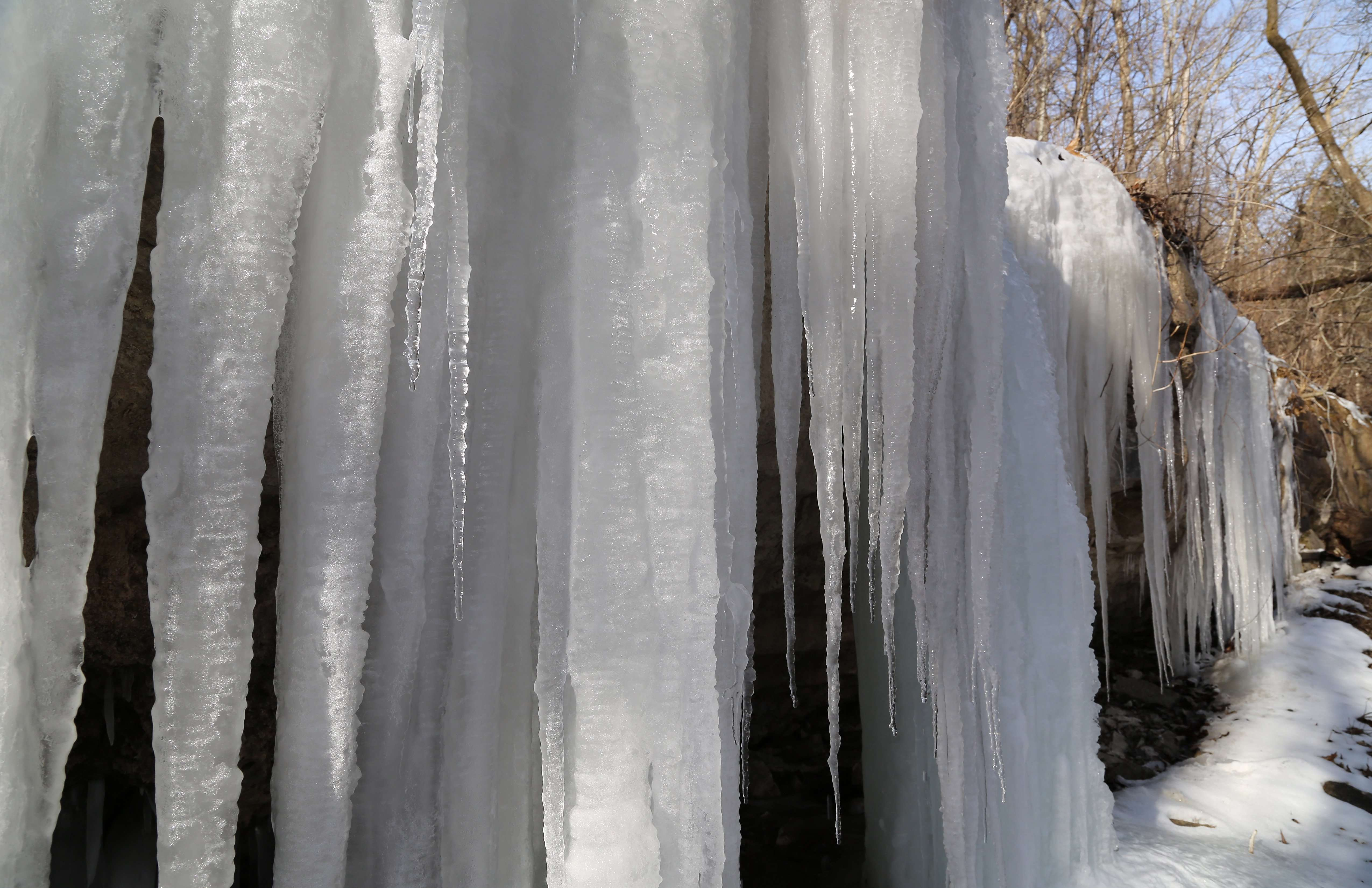 Icicles form down Rocky Ledge in Ozarks