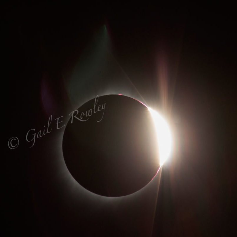 Sun's Diamond Ring during Total Solar Eclipse 2017 photo taken by Gail E Rowley Ozark Stream Photography